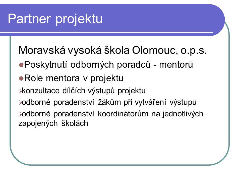Partner projektu Moravská vysoká škola Olomouc, o.p.s.