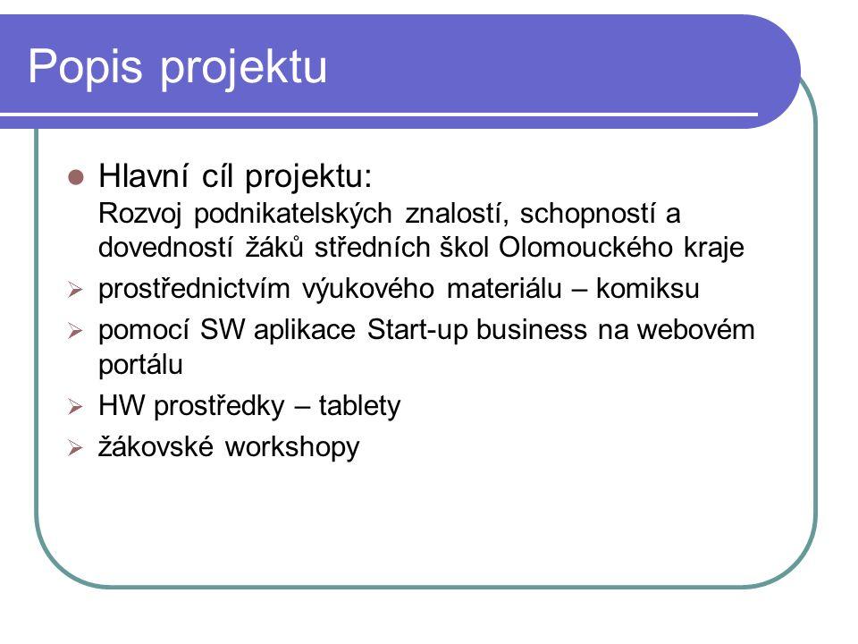 Popis projektu Hlavní cíl projektu: Rozvoj podnikatelských znalostí, schopností a dovedností žáků středních škol Olomouckého kraje  prostřednictvím výukového materiálu – komiksu  pomocí SW aplikace Start-up business na webovém portálu  HW prostředky – tablety  žákovské workshopy