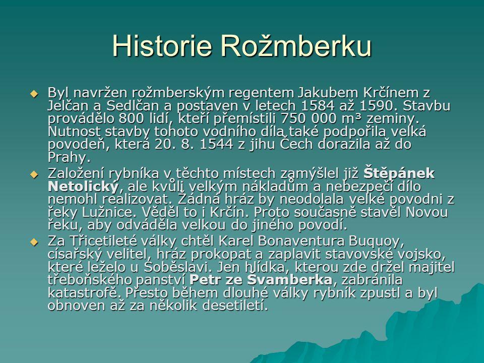 Historie Rožmberku  Byl navržen rožmberským regentem Jakubem Krčínem z Jelčan a Sedlčan a postaven v letech 1584 až 1590. Stavbu provádělo 800 lidí,