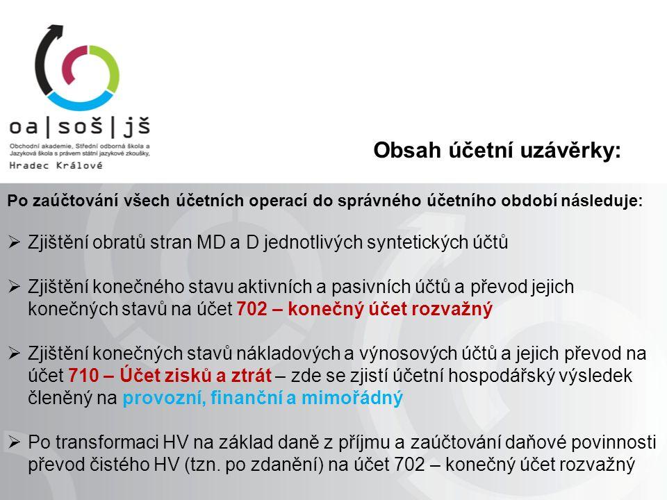 Obsah účetní uzávěrky: Po zaúčtování všech účetních operací do správného účetního období následuje:  Zjištění obratů stran MD a D jednotlivých syntet