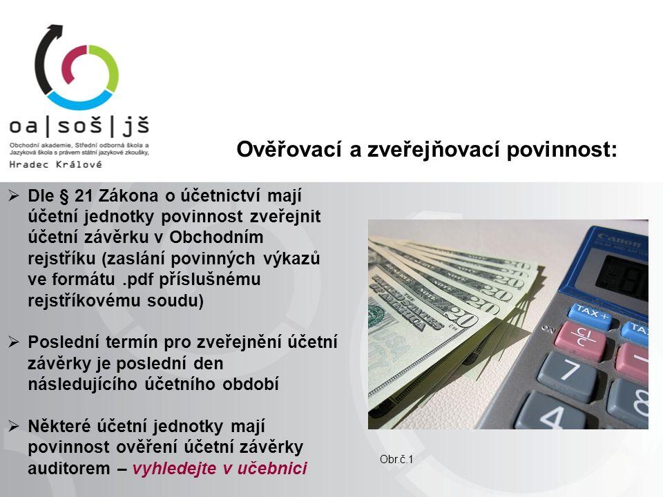 Ověřovací a zveřejňovací povinnost:  Dle § 21 Zákona o účetnictví mají účetní jednotky povinnost zveřejnit účetní závěrku v Obchodním rejstříku (zaslání povinných výkazů ve formátu.pdf příslušnému rejstříkovému soudu)  Poslední termín pro zveřejnění účetní závěrky je poslední den následujícího účetního období  Některé účetní jednotky mají povinnost ověření účetní závěrky auditorem – vyhledejte v učebnici Obr.č.1