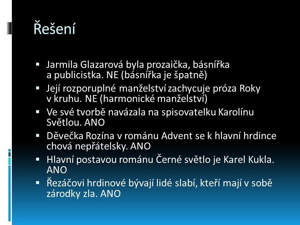 Řešení  Jarmila Glazarová byla prozaička, básnířka a publicistka. NE (básnířka je špatně)  Její rozporuplné manželství zachycuje próza Roky v kruhu.