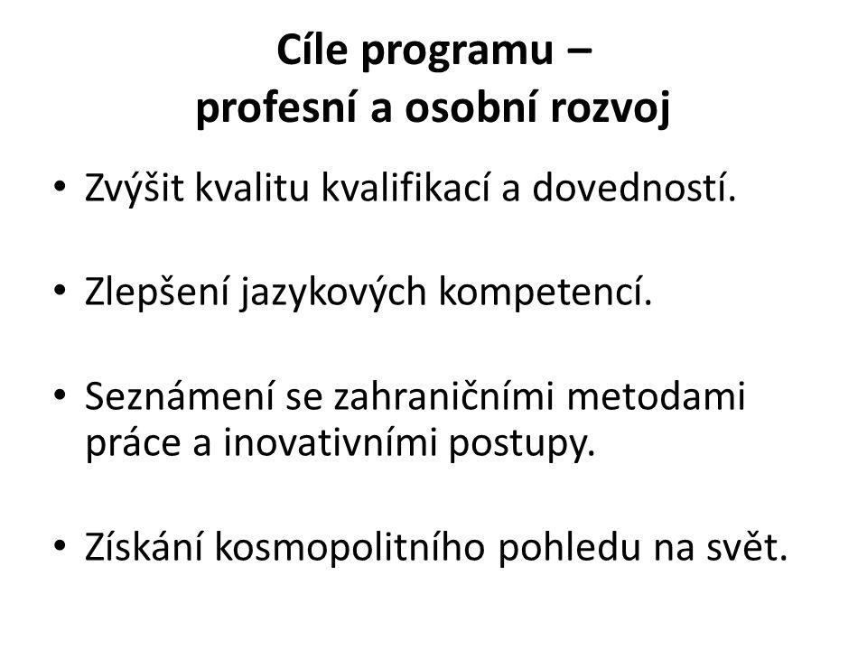 Cíle programu – profesní a osobní rozvoj Zvýšit kvalitu kvalifikací a dovedností.