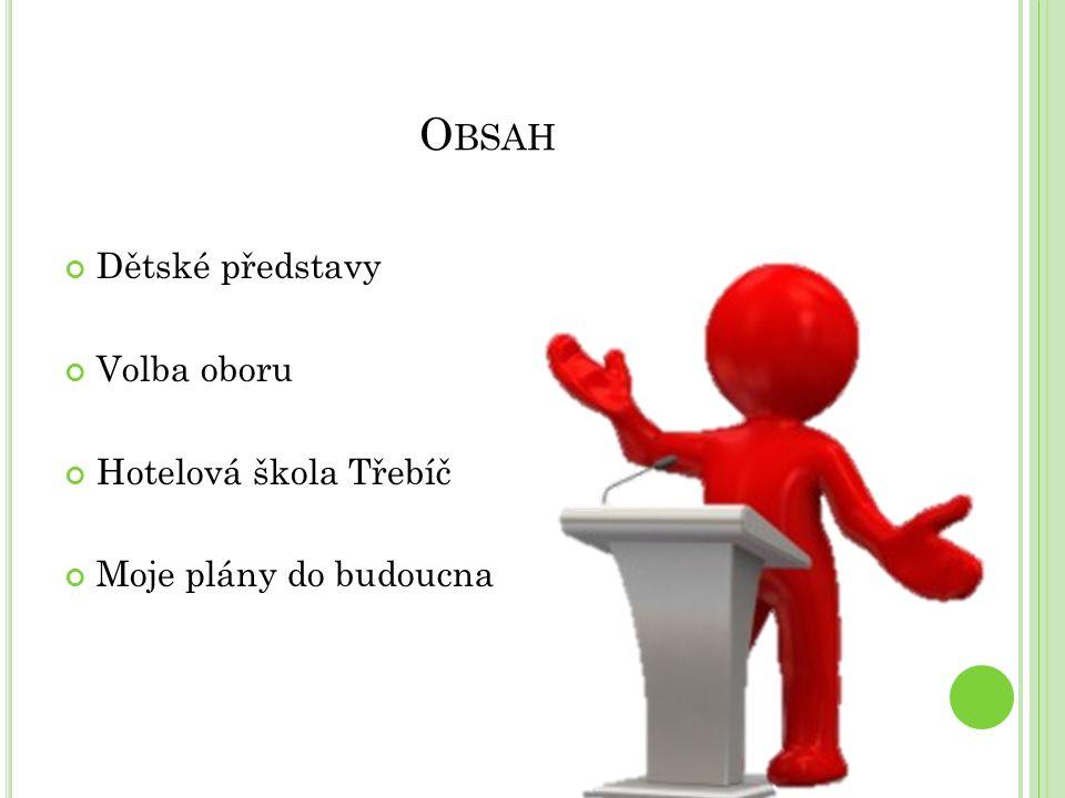 O BSAH Dětské představy Volba oboru Hotelová škola Třebíč Moje plány do budoucna