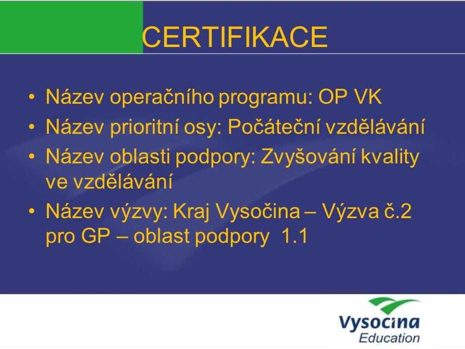 CERTIFIKACE Příprava zavedení jazykové certifikace na ZŠ a SŠ kraje Vysočina