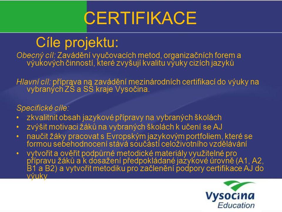 CERTIFIKACE Výstupy projektu: 1.
