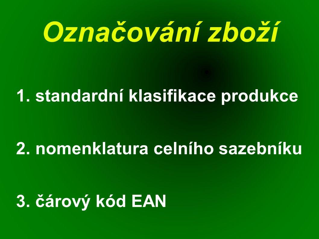 Označování zboží 1. standardní klasifikace produkce 2. nomenklatura celního sazebníku 3. čárový kód EAN