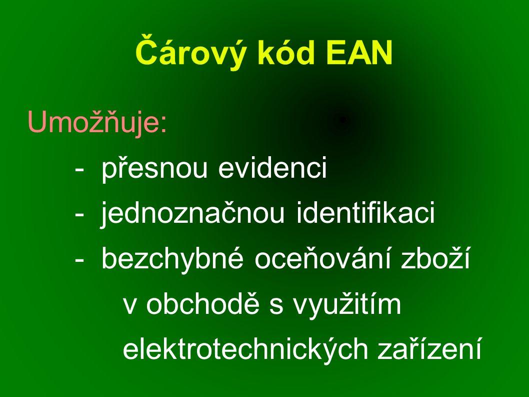 Čárový kód EAN Umožňuje: - přesnou evidenci - jednoznačnou identifikaci - bezchybné oceňování zboží v obchodě s využitím elektrotechnických zařízení