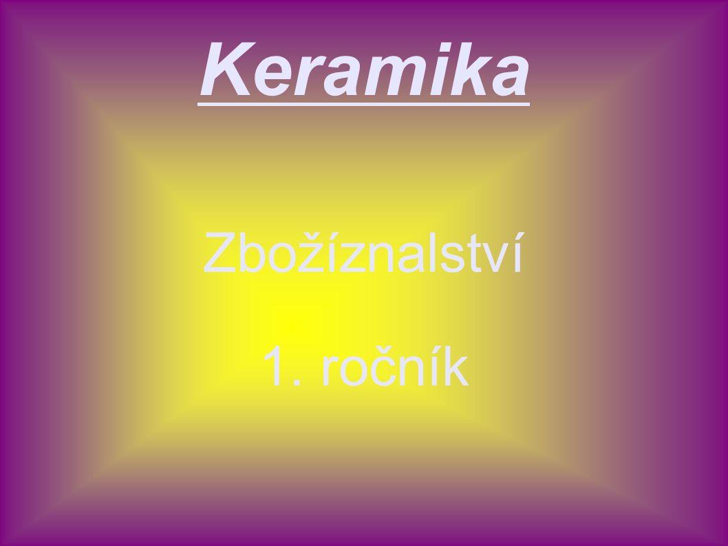Keramika – suroviny a) základní - tvárlivé jíly (kamenité) - hlíny (hrnčířské,kameninové) - kaolin b) ostatní - ostřiva, taviva - glazury - barvící látky