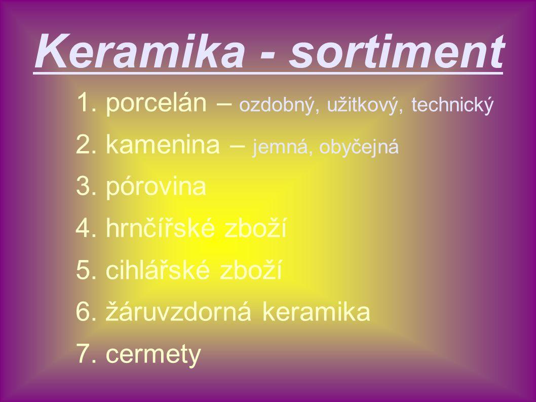 Keramika - sortiment 1. porcelán – ozdobný, užitkový, technický 2. kamenina – jemná, obyčejná 3. pórovina 4. hrnčířské zboží 5. cihlářské zboží 6. žár