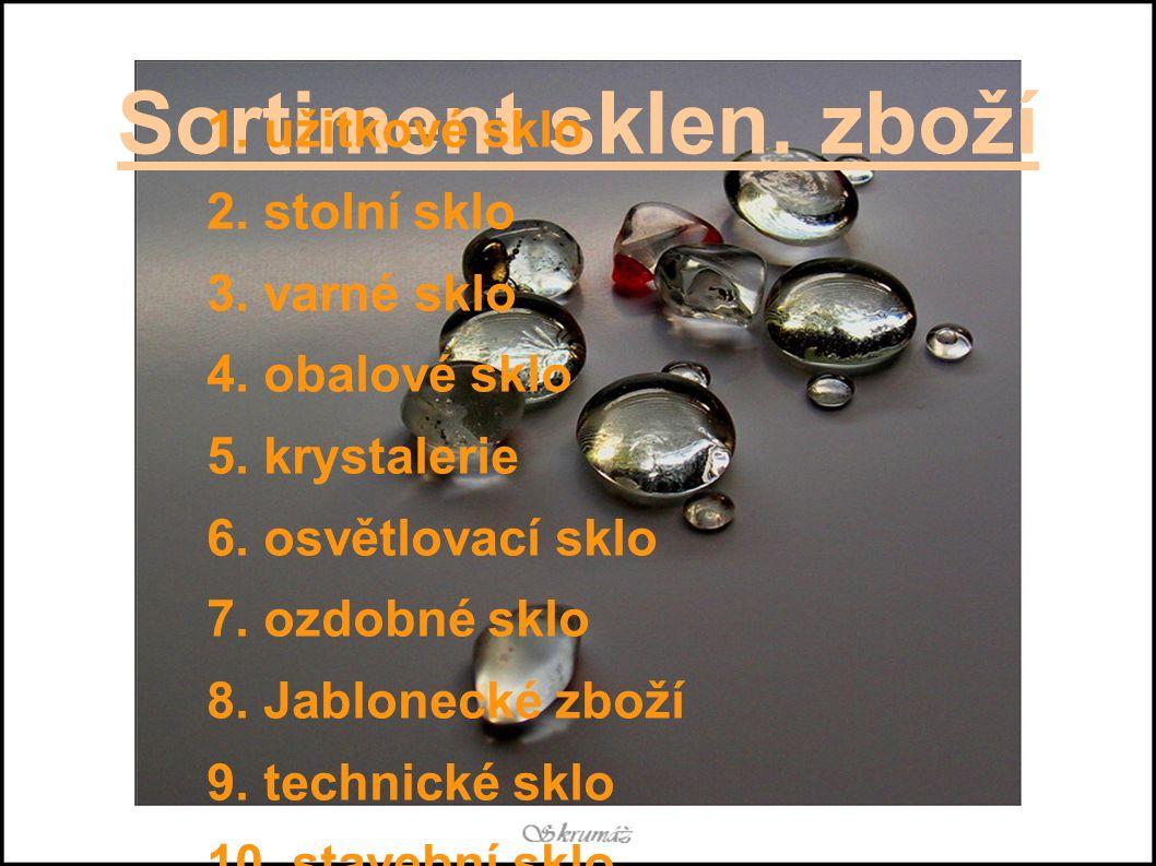 Sortiment sklen.zboží 1. užitkové sklo 2. stolní sklo 3.
