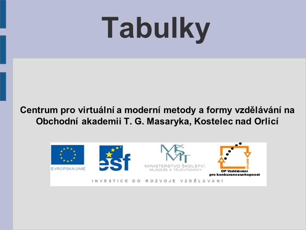 Tabulky Centrum pro virtuální a moderní metody a formy vzdělávání na Obchodní akademii T. G. Masaryka, Kostelec nad Orlicí