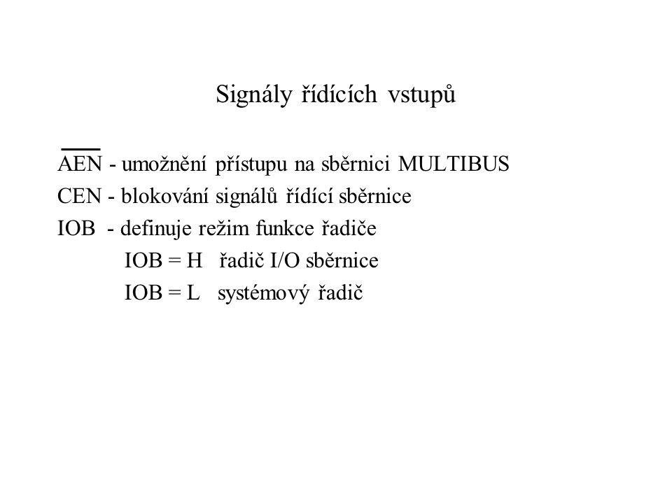 Signály řídících vstupů AEN - umožnění přístupu na sběrnici MULTIBUS CEN - blokování signálů řídící sběrnice IOB - definuje režim funkce řadiče IOB = H řadič I/O sběrnice IOB = L systémový řadič