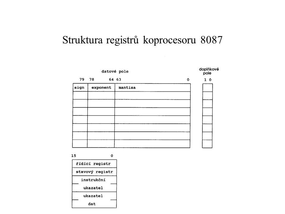 Struktura registrů koprocesoru 8087