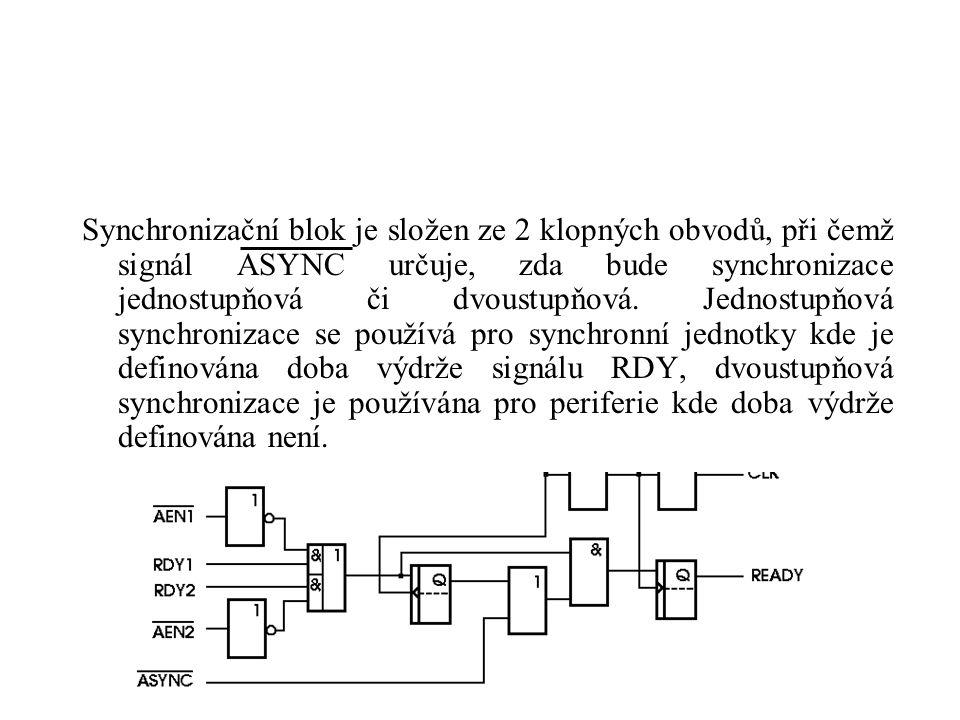 Signály RDY 1, RDY 2 - signály platnosti dat na sběrnicích AEN 1, AEN 2 - signály odpovídající vstupům RDY ASYNC - signál definující synchronizaci RDY X 1,X 2 - vstupy pro připojení krystalu, kde PCLK = CLK/2 RES - požadavek RESET CSYNC - signál pro synchronizaci několika generátorů