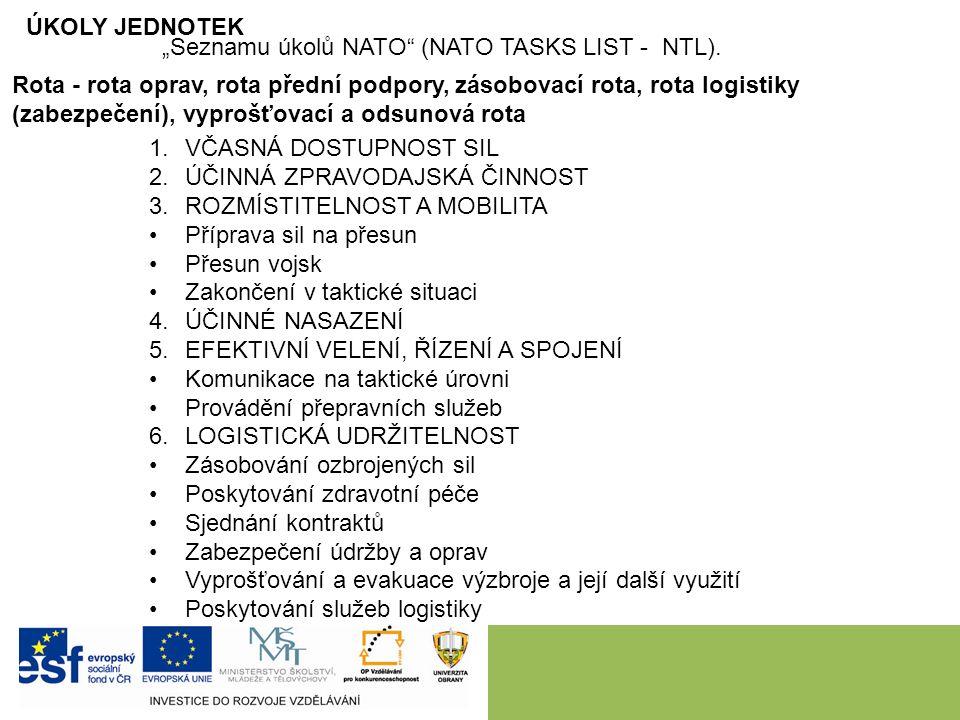 """ÚKOLY JEDNOTEK """"Seznamu úkolů NATO (NATO TASKS LIST - NTL)."""