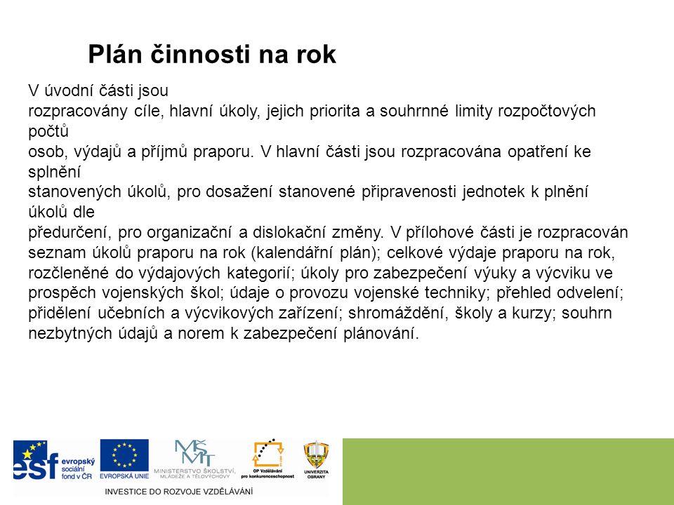 Plán činnosti na rok V úvodní části jsou rozpracovány cíle, hlavní úkoly, jejich priorita a souhrnné limity rozpočtových počtů osob, výdajů a příjmů praporu.