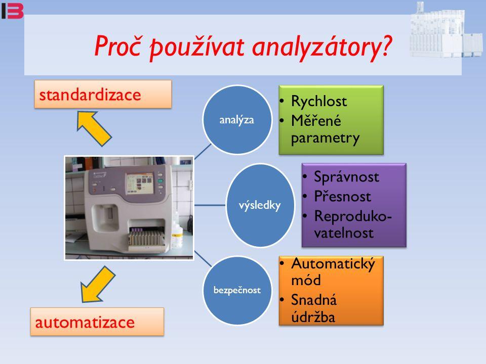 Proč používat analyzátory? analýza Rychlost Měřené parametry výsledky Správnost Přesnost Reproduko- vatelnost bezpečnost Automatický mód Snadná údržba