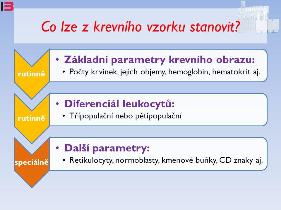 Co lze z krevního vzorku stanovit? rutinně Základní parametry krevního obrazu: Počty krvinek, jejich objemy, hemoglobin, hematokrit aj. rutinně Difere