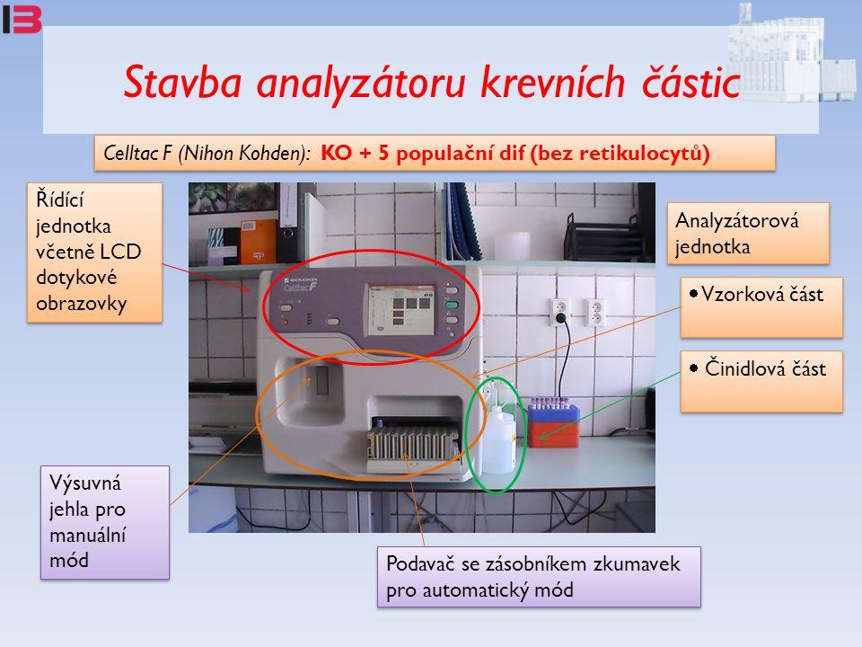 Stavba analyzátoru krevních částic Celltac F (Nihon Kohden): KO + 5 populační dif (bez retikulocytů) Podavač se zásobníkem zkumavek pro automatický mó