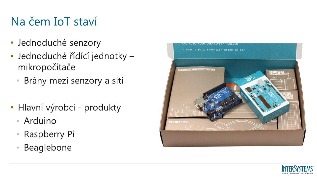 Jednoduché senzory Jednoduché řídící jednotky – mikropočítače Brány mezi senzory a sítí Hlavní výrobci - produkty Arduino Raspberry Pi Beaglebone Na čem IoT staví