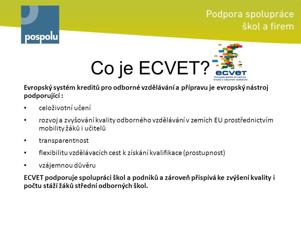 Co je ECVET? Evropský systém kreditů pro odborné vzdělávání a přípravu je evropský nástroj podporující : celoživotní učení rozvoj a zvyšování kvality