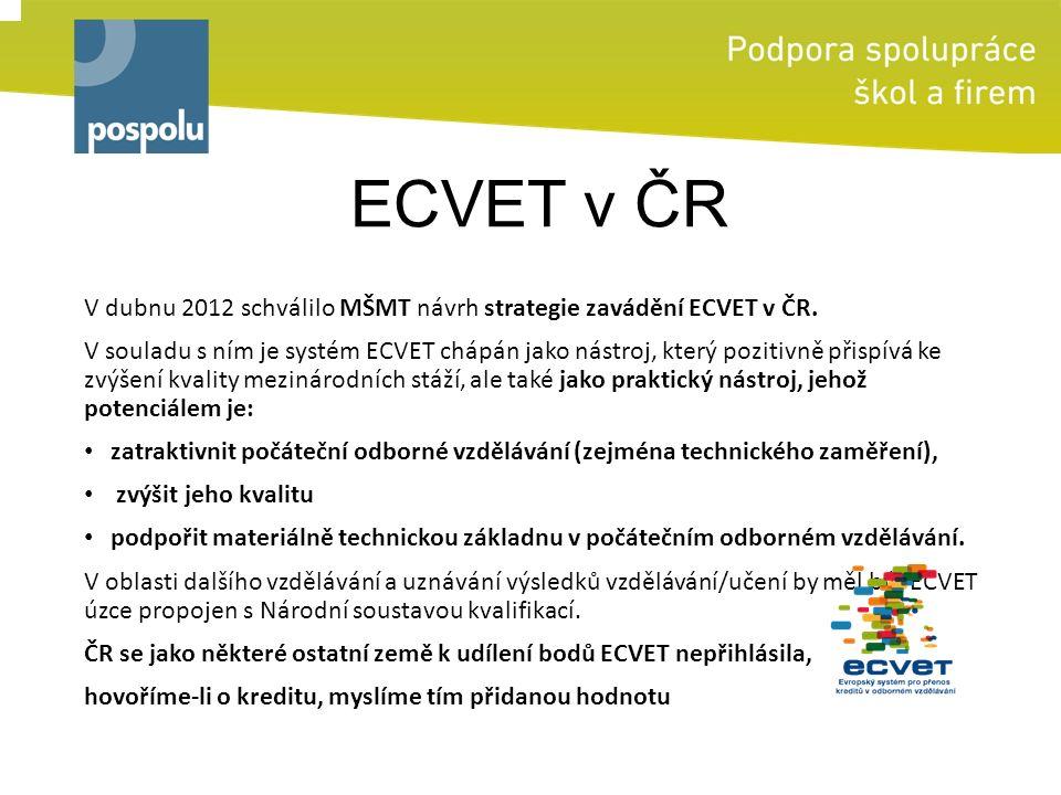 ECVET v ČR V dubnu 2012 schválilo MŠMT návrh strategie zavádění ECVET v ČR. V souladu s ním je systém ECVET chápán jako nástroj, který pozitivně přisp