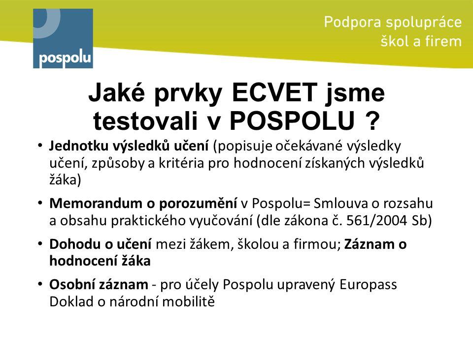 Jaké prvky ECVET jsme testovali v POSPOLU ? Jednotku výsledků učení (popisuje očekávané výsledky učení, způsoby a kritéria pro hodnocení získaných výs