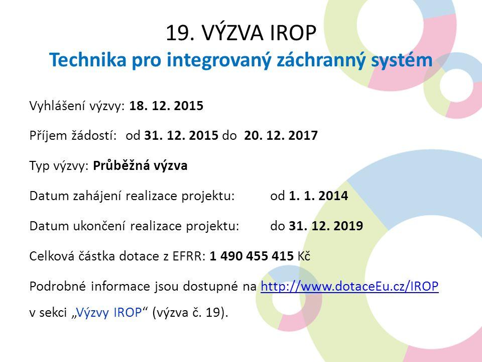 19.VÝZVA IROP Technika pro integrovaný záchranný systém Vyhlášení výzvy: 18.