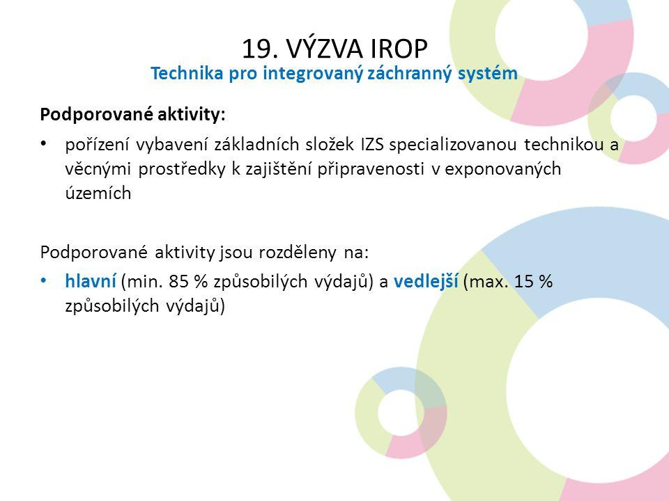 19. VÝZVA IROP Technika pro integrovaný záchranný systém Podporované aktivity: pořízení vybavení základních složek IZS specializovanou technikou a věc
