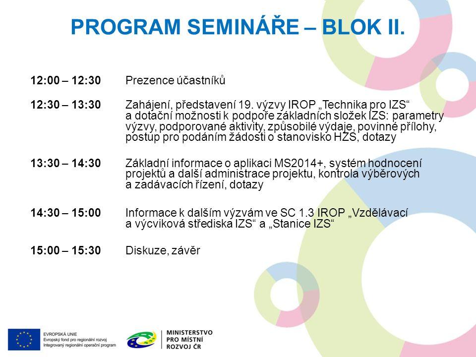 PROGRAM SEMINÁŘE – BLOK II.12:00 – 12:30Prezence účastníků 12:30 – 13:30Zahájení, představení 19.