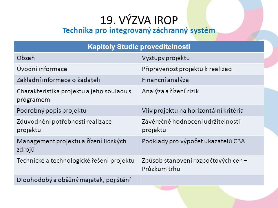 19. VÝZVA IROP Technika pro integrovaný záchranný systém Kapitoly Studie proveditelnosti ObsahVýstupy projektu Úvodní informacePřipravenost projektu k