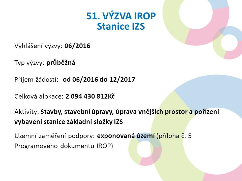 51. VÝZVA IROP Stanice IZS Vyhlášení výzvy: 06/2016 Typ výzvy: průběžná Příjem žádostí: od 06/2016 do 12/2017 Celková alokace: 2 094 430 812Kč Aktivit