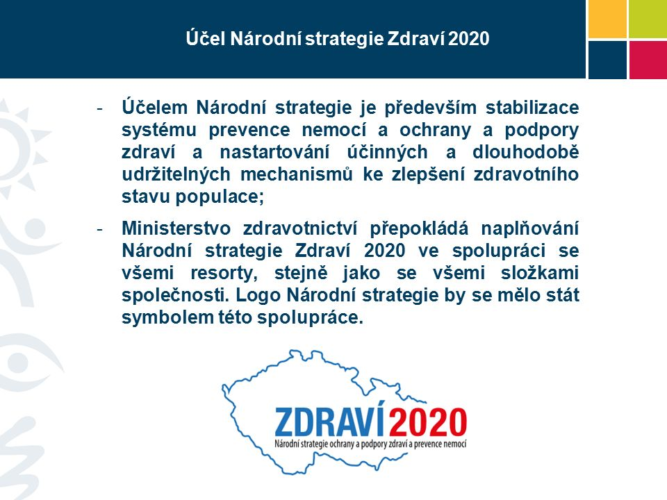 Účel Národní strategie Zdraví 2020 -Účelem Národní strategie je především stabilizace systému prevence nemocí a ochrany a podpory zdraví a nastartování účinných a dlouhodobě udržitelných mechanismů ke zlepšení zdravotního stavu populace; -Ministerstvo zdravotnictví přepokládá naplňování Národní strategie Zdraví 2020 ve spolupráci se všemi resorty, stejně jako se všemi složkami společnosti.