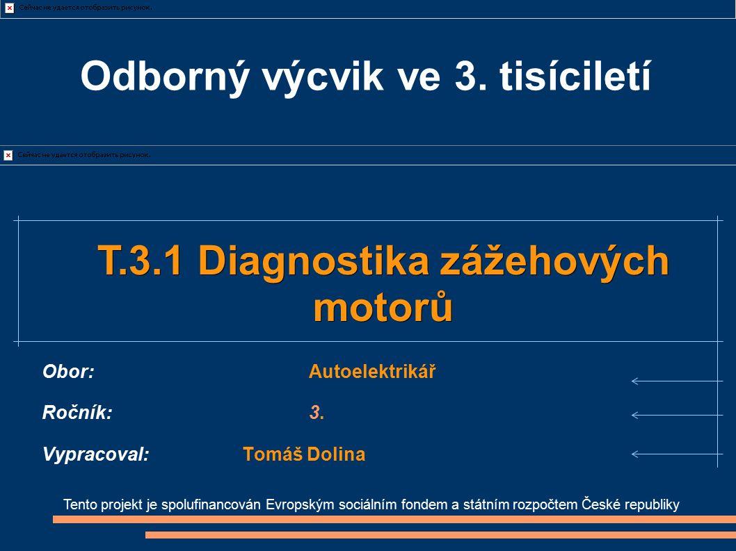 Tento projekt je spolufinancován Evropským sociálním fondem a státním rozpočtem České republiky T.3.1 Diagnostika zážehových T.3.1 Diagnostika zážehov