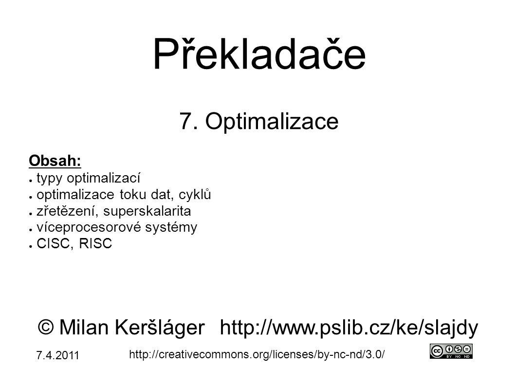 CISC vs.RISC ● RISC → ARM, MIPS, SPARC,...