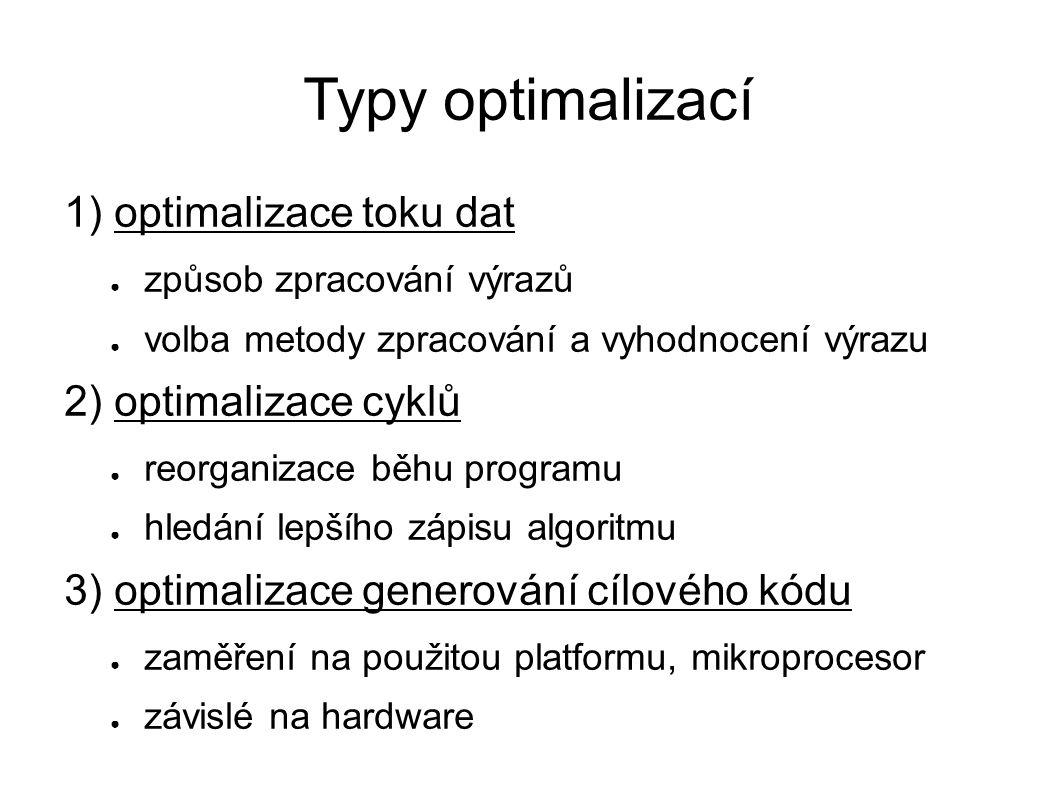 Typy optimalizací 1) optimalizace toku dat ● způsob zpracování výrazů ● volba metody zpracování a vyhodnocení výrazu 2) optimalizace cyklů ● reorganizace běhu programu ● hledání lepšího zápisu algoritmu 3) optimalizace generování cílového kódu ● zaměření na použitou platformu, mikroprocesor ● závislé na hardware