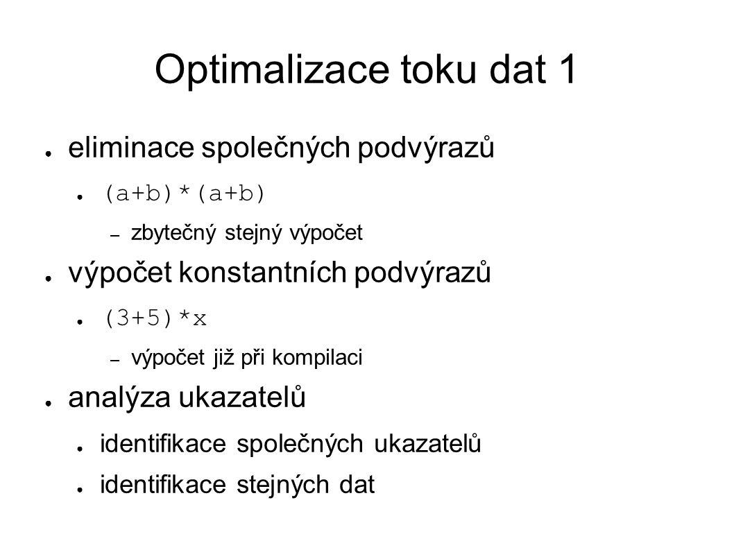 Optimalizace toku dat 2 ● sdružování úklidových operací ● hromadné rušení obsahu zásobníku – např.