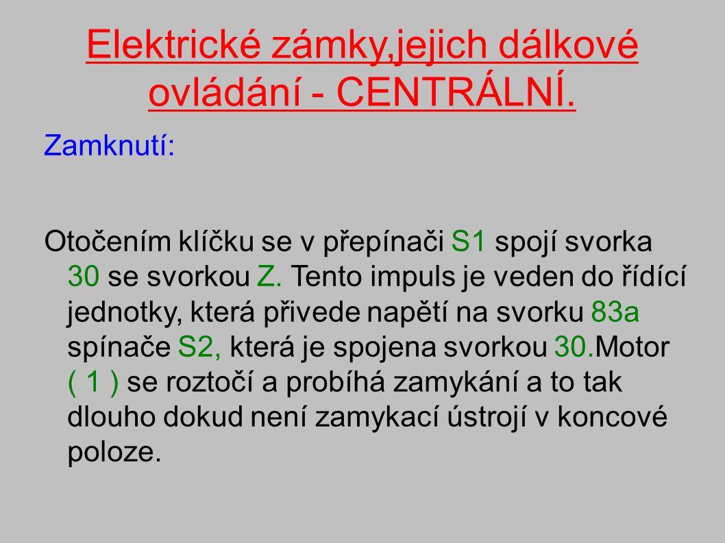 Elektrické zámky,jejich dálkové ovládání - CENTRÁLNÍ.