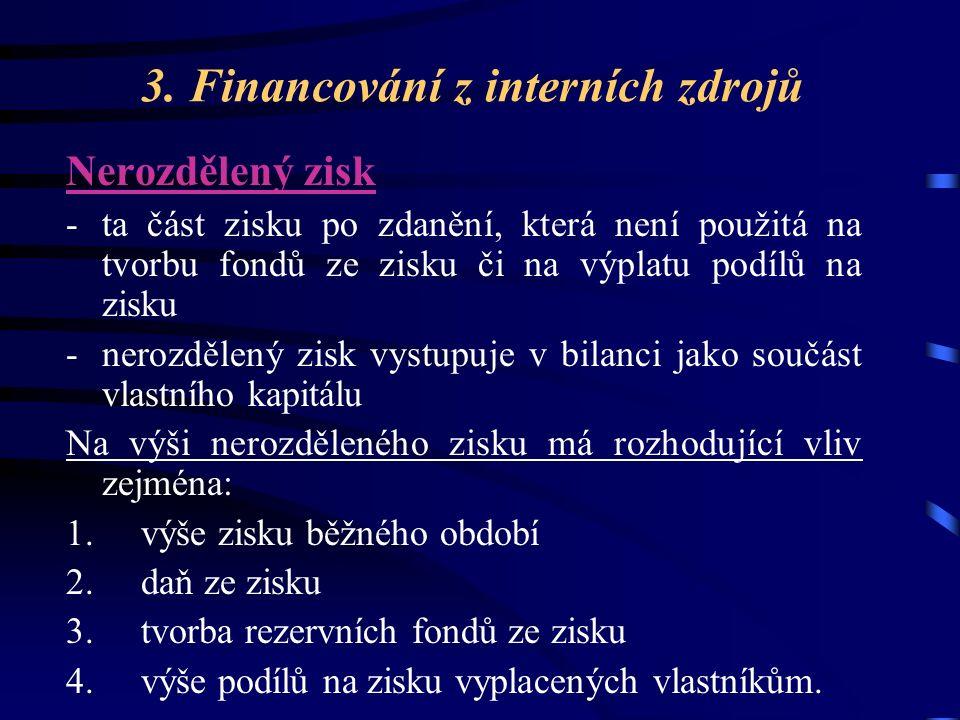 3. Financování z interních zdrojů Nerozdělený zisk -ta část zisku po zdanění, která není použitá na tvorbu fondů ze zisku či na výplatu podílů na zisk