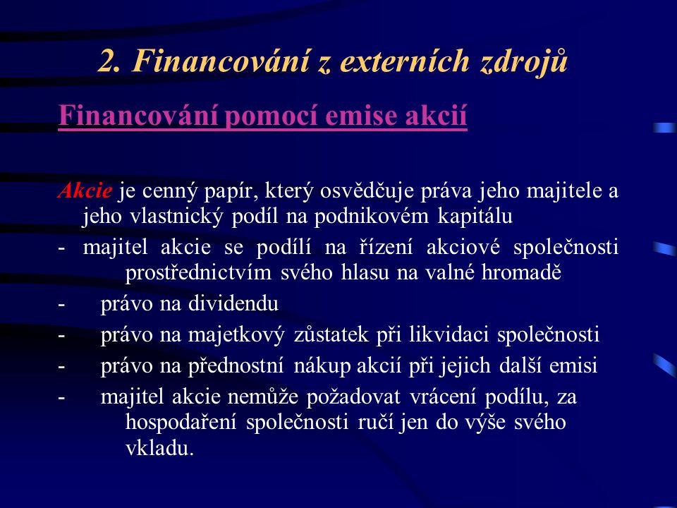 2. Financování z externích zdrojů Financování pomocí emise akcií Akcie je cenný papír, který osvědčuje práva jeho majitele a jeho vlastnický podíl na