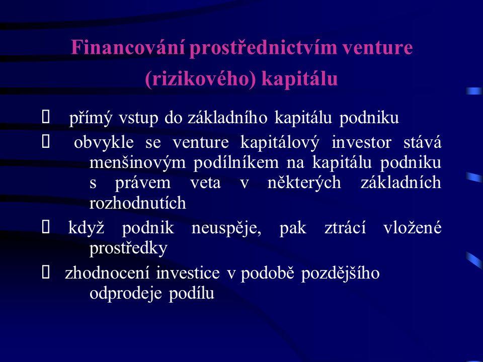 Financování prostřednictvím venture (rizikového) kapitálu  přímý vstup do základního kapitálu podniku  obvykle se venture kapitálový investor stává menšinovým podílníkem na kapitálu podniku s právem veta v některých základních rozhodnutích  když podnik neuspěje, pak ztrácí vložené prostředky  zhodnocení investice v podobě pozdějšího odprodeje podílu
