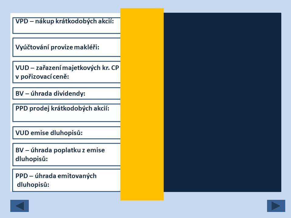 VPD – nákup krátkodobých akcií: 259/211 Vyúčtování provize makléři: 259/379 VUD – zařazení majetkových kr.