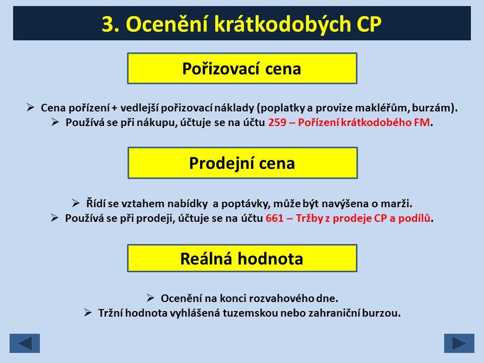 4.Účty krátkodobých CP Krátkodobé CP (tř.