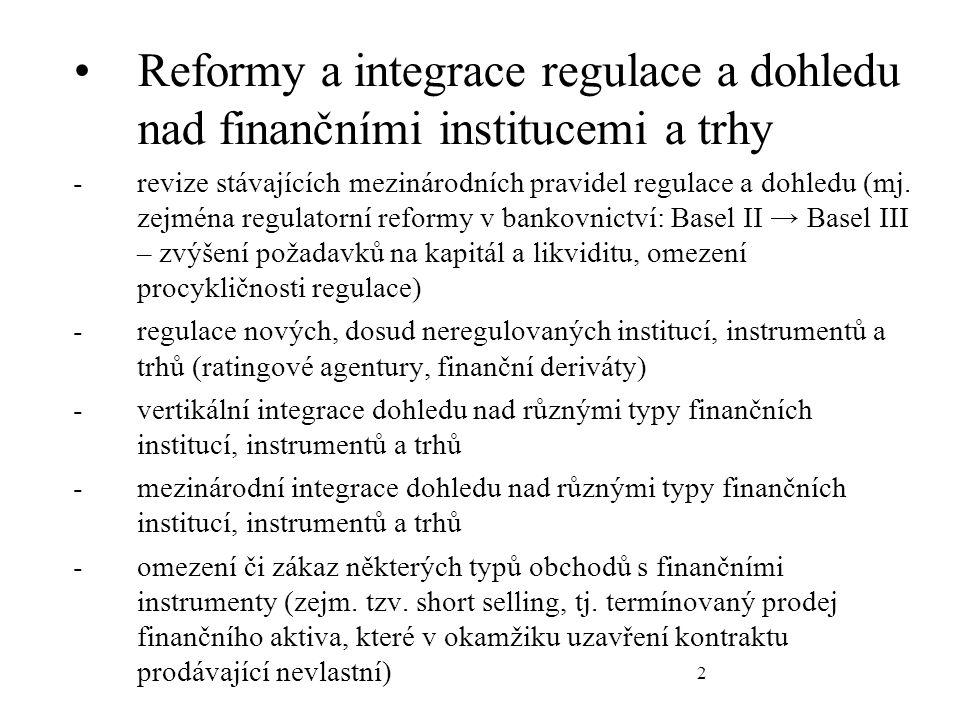 2 Reformy a integrace regulace a dohledu nad finančními institucemi a trhy -revize stávajících mezinárodních pravidel regulace a dohledu (mj.