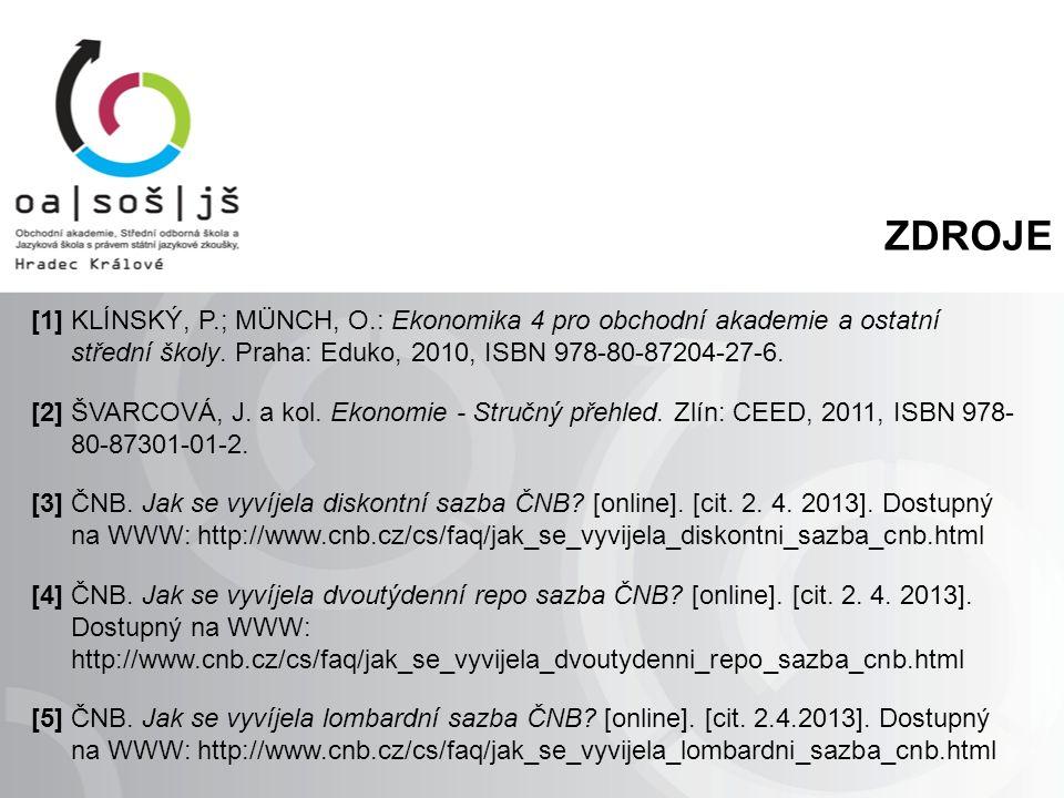 ZDROJE [1] KLÍNSKÝ, P.; MÜNCH, O.: Ekonomika 4 pro obchodní akademie a ostatní střední školy. Praha: Eduko, 2010, ISBN 978-80-87204-27-6. [2] ŠVARCOVÁ
