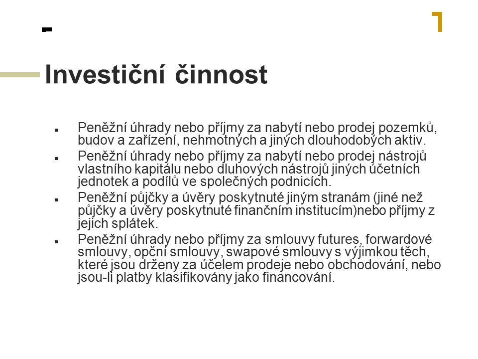 Financování Peněžní příjmy z emitovaných akcií nebo jiných nástrojů vlastního kapitálu.