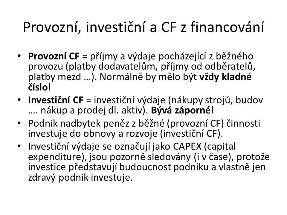 Provozní, investiční a CF z financování Provozní CF = příjmy a výdaje pocházející z běžného provozu (platby dodavatelům, příjmy od odběratelů, platby mezd …).
