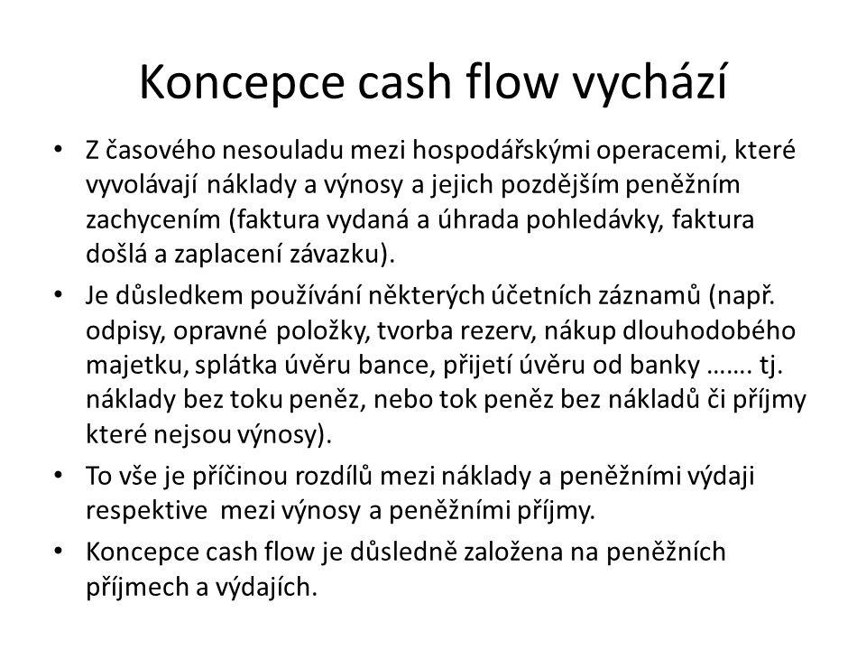 Koncepce cash flow vychází Z časového nesouladu mezi hospodářskými operacemi, které vyvolávají náklady a výnosy a jejich pozdějším peněžním zachycením (faktura vydaná a úhrada pohledávky, faktura došlá a zaplacení závazku).