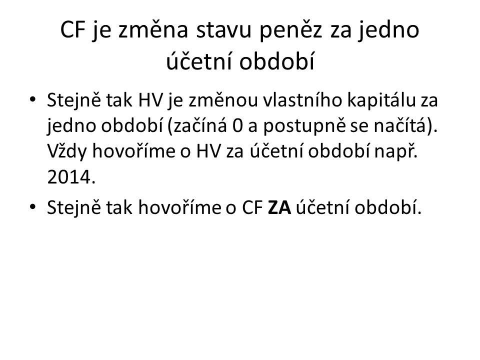 CF je změna stavu peněz za jedno účetní období Stejně tak HV je změnou vlastního kapitálu za jedno období (začíná 0 a postupně se načítá).